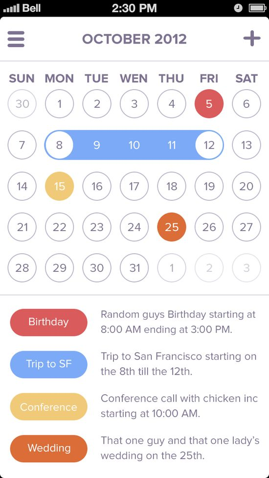 Calendar app / #ui