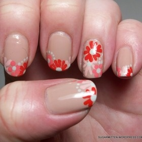 French tip flowers mani....