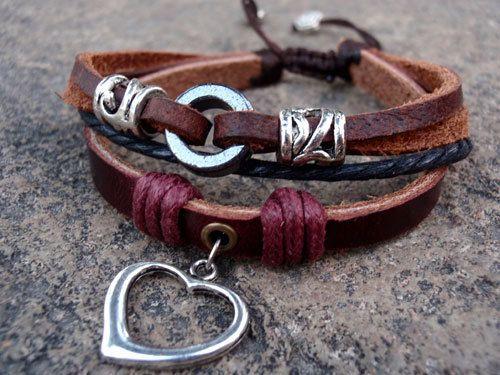 Silver heart charm leather bracelet....
