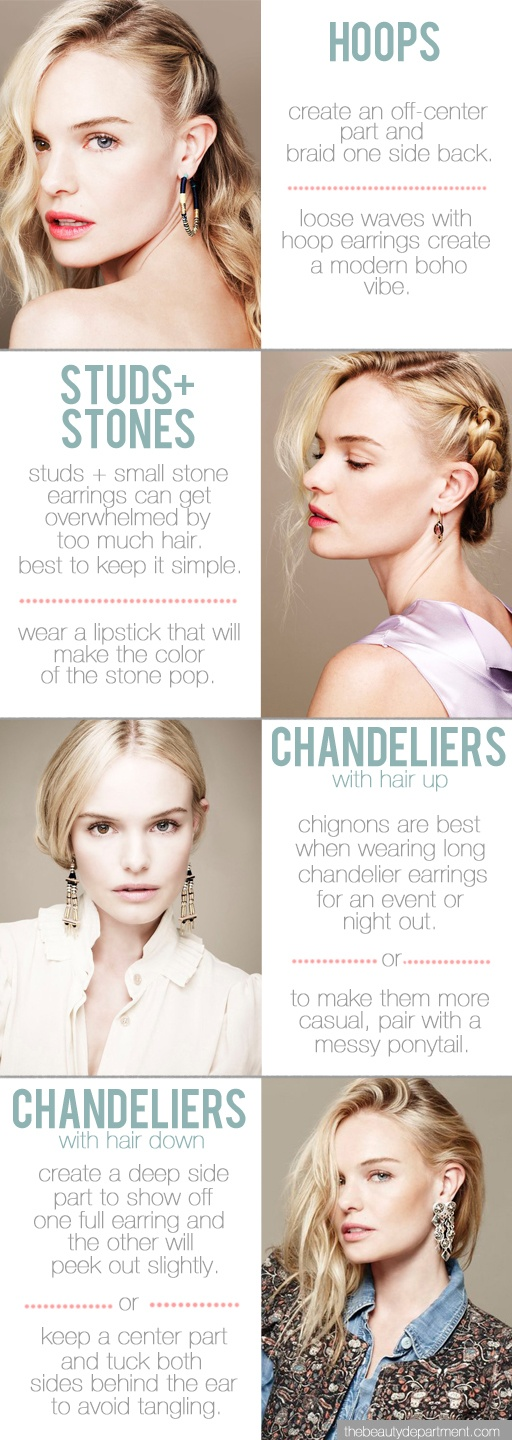 the perfect hairstyle for each type of earring