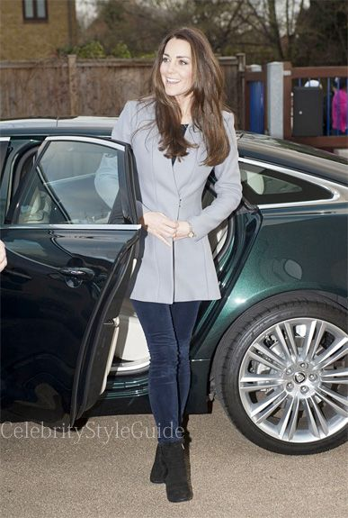 Seen on Celebrity Style Guide: Kate Middleton wore this grey flare Coat to the Shooting Star House Childrens Hospice December 6...Get It Here: rstyle.me/~15Oo6