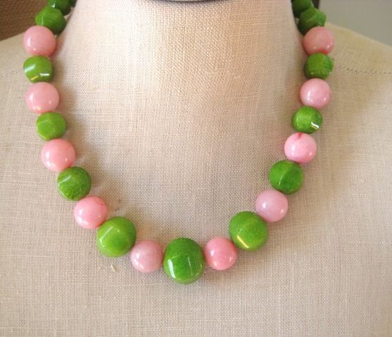 Pink and green jade necklace by Fiorella Jewelry