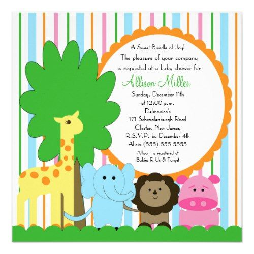 Cute Baby Animal Neutral Baby Shower Custom Invitation