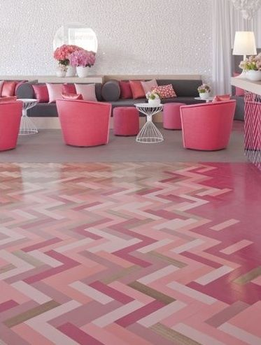 pink parquet flooring       #floor #interior #design
