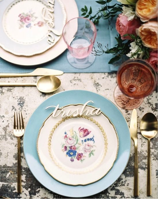 botanical china, blush glassware, gold flatware...