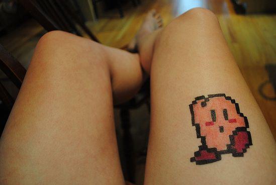 Pixel Kirby Tattoo by disneylandaciddtrip, via Flickr #8bit #pixel #tattoo