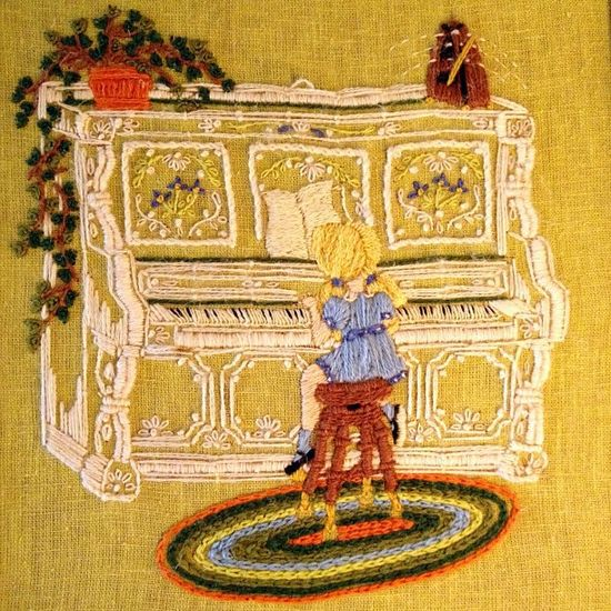 Piano Girl #janphotoaday #piano #music #green #70s #vintage #embroidery #art #children #instagood #instagram #snapseed #iphoneonly #iphone4s #illustration #thread #needlework by SprittiBee, via Flickr