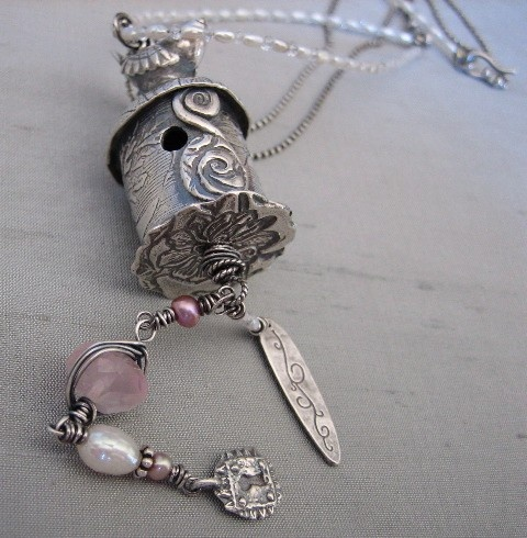 ? Rose Birdhouse Necklace by Catherine Witherell