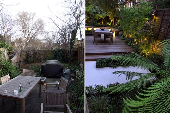 #Before and #after of a #sub #tropical #London #modern #garden #design