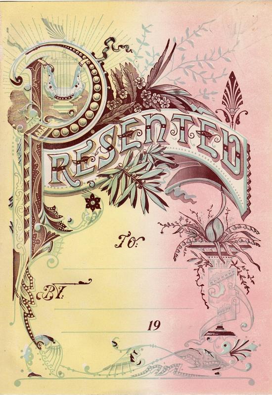 Antique Book presentation page - Ephemera