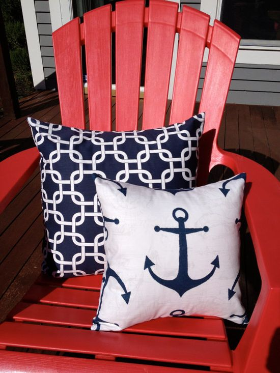nautical accent pillows 14x14 by pillowpress on Etsy, $14.00