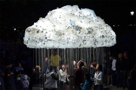 An Interactive Cloud Made of 6,000 Light Bulbs