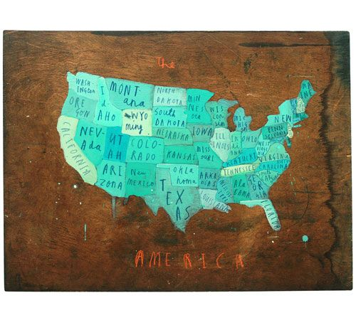 Oliver Jeffers, paintings, map, america