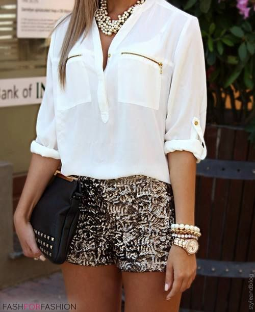 This is a chic summer look!! I love the sparkle shorts with white blouse. The gold in the pocket detailing pull the look all together. Since there isn't a bag or shoes in the picture, I would pick a black clutch and a pair of beige sandals from Rihanna`s River Island collection to give the look some edge with the glam :)