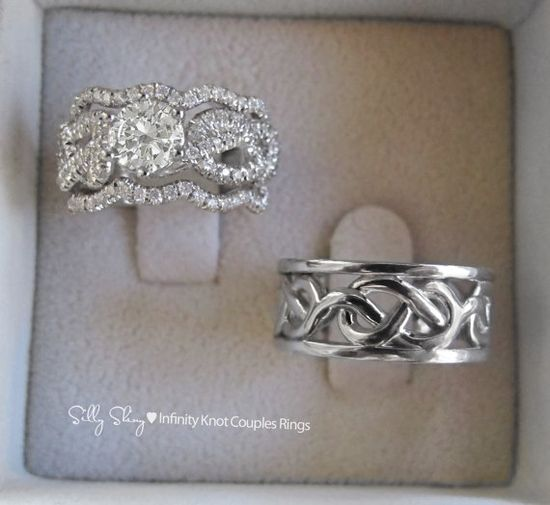 Couples Infinity Knot Wedding Bands Set Engagement by SillyShiny, $2399.00