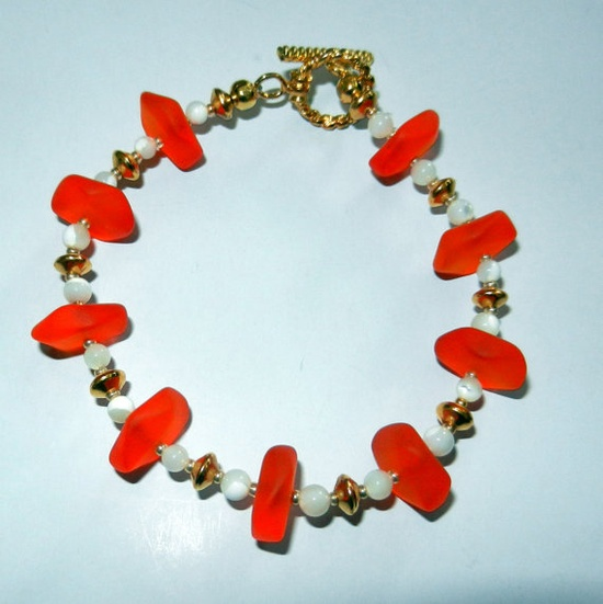 Orange Sea Glass and Mother of Pearl Beaded by CloudNineDesignz, $32.00