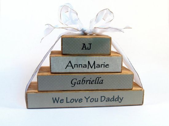 Rustic family name block set FOUR blocks custom by KnottyNotions, $45.00