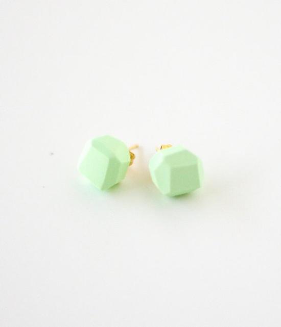 Mint geo earrings