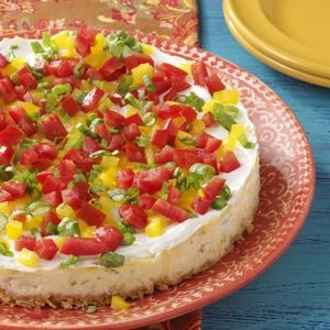 Santa Fe Cheesecake Recipe _ All of my favorite Southwestern ingredients are combined in this Savory Cheesecake. It looks & tastes fantastic!