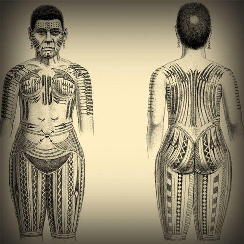 Intricate body tattoo patterns of an Ontong Java women, ca. 1880.