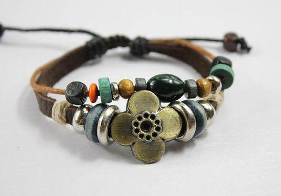 leather, metal, stone bracelet