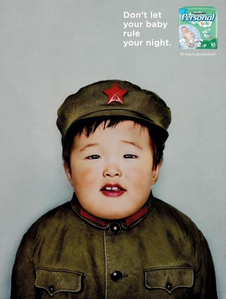 baby dictator! Santher Nappies Brand: Mao Zedong #funny #ad #creative #print #advertising