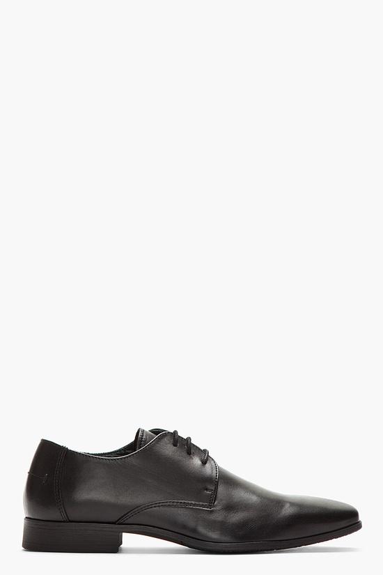 TIGER OF SWEDEN Black Leather Steve Derby Dress shoes