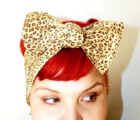 Bow hair tie Leopard Print Light Brown Retro by OhHoneyHush, $10.00