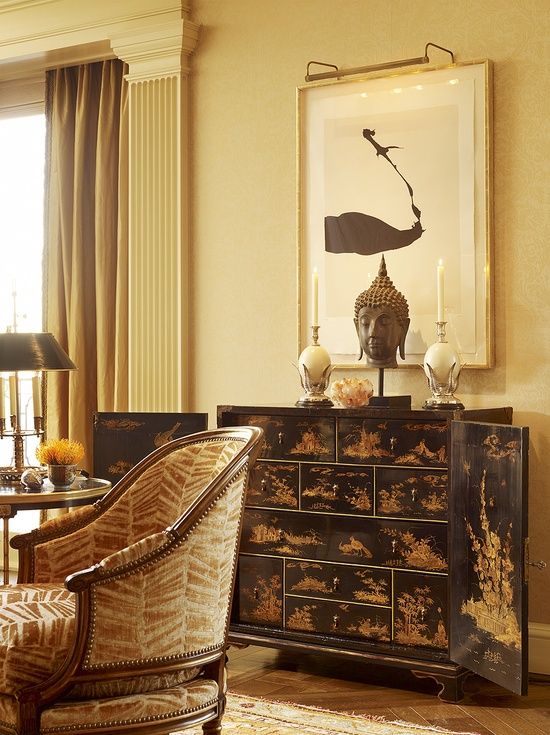 love the fabric with the chinois cabinet and the modern art by designer suzanne tucker