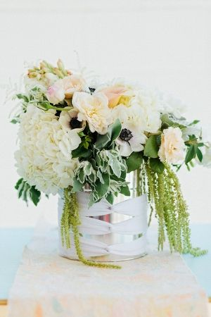 flower arrangements in paint cans // styled by GatherEvents.com // photo by TheWhyWeLove.com