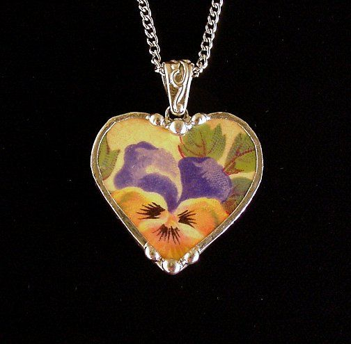 Broken china jewelry heart pendant necklace antique pansy chintz blue yellow