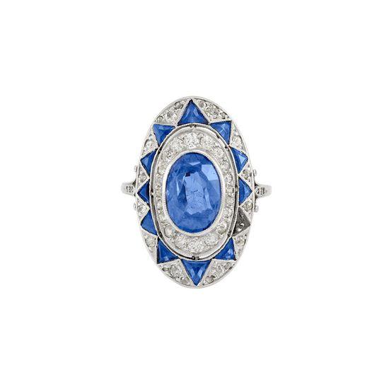 Art Deco Platinum, Sapphire and Diamond Ring ca. 1920