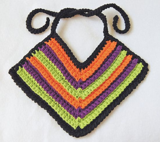 Crochet Baby Bib  Cotton  Black Orange Green Purple by MadeByHand, $7.00