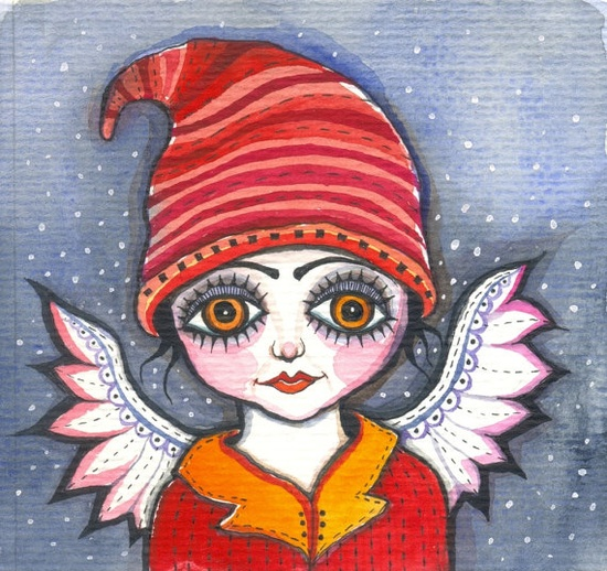 Merry Christmas - original Watercolor Painting Red Hat Angel