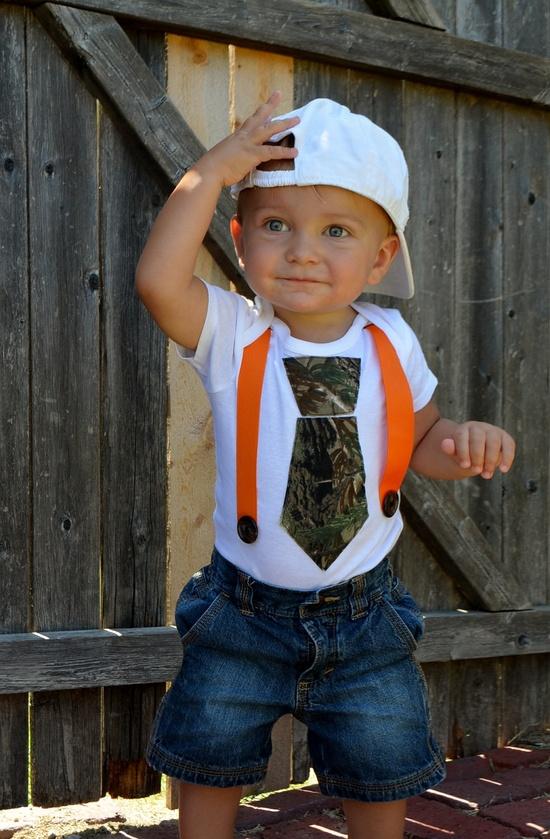 Camo Tie Onesie with Suspenders- Camo Tie- Real Tree Tie- Camo Tie Onesie- Real Tree Tie Onesie- Boy Onesie- Baby Onesie- Baby Camo Onesie. $12.50, via Etsy.