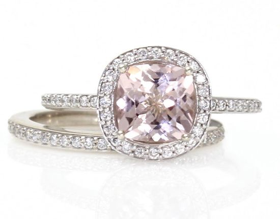 14K Cushion Morganite Engagement Ring & Wedding Band by RareEarth