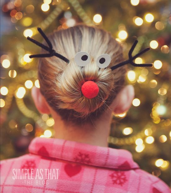 Rudolph the Red Nosed Reindeer Christmas Hairdo. Gotta try on AC!