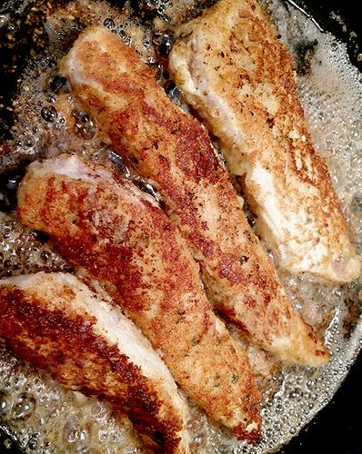 Ranch Chicken - chicken breasts (cut into strips), shredded Parmesan cheese, Panko bread crumbs, Italian seasoning, ranch dressing, olive oil