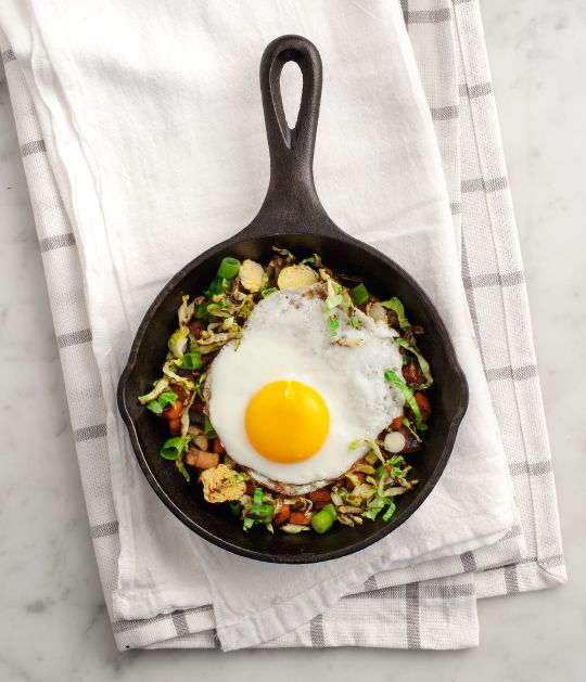 sweet potato + brussels sprout skillet