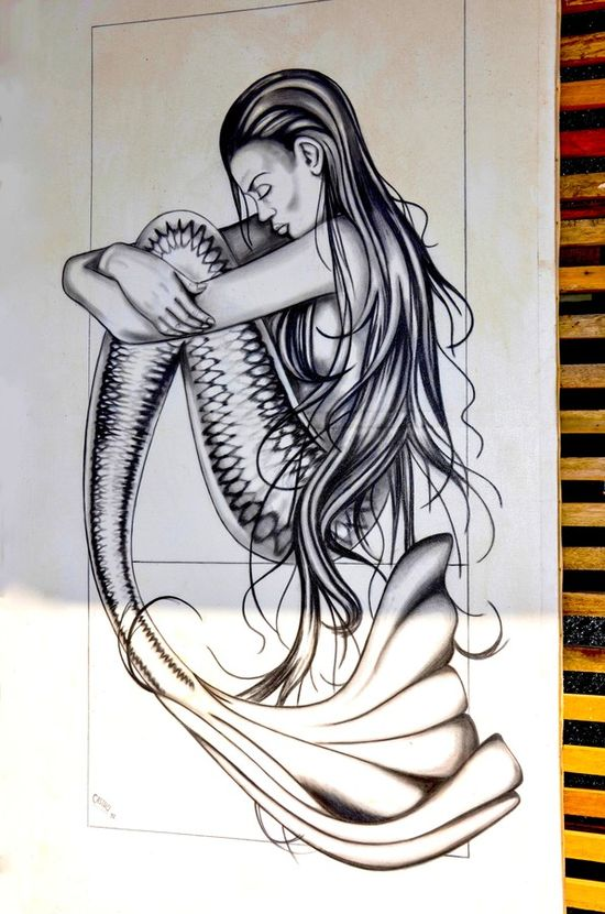 """Sad Mermaid "" #street art #graffiti"