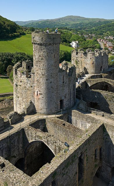 Towers of Conwy Castle in Northern Wales.