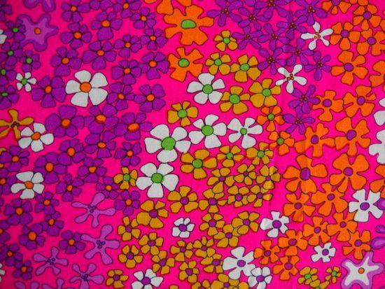 Vintage 60s Hot Pink Daisy Flower Fabric Lime Green Tangerine Orange Floral Cluster Print