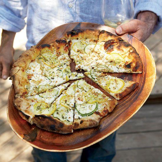 Summer Squash Pizza with Goat Cheese and Walnuts // Terrific Zucchini Recipes: www.foodandwine.c... #foodandwine