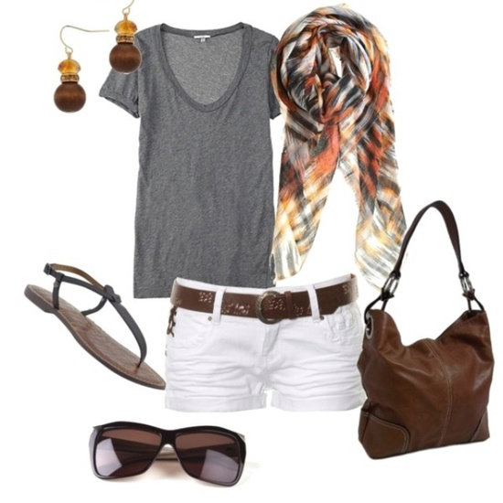 Summer outfit~ grey t-shirt and white shorts