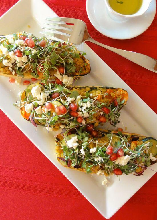 Delicata Squash Stuffed with Quinoa