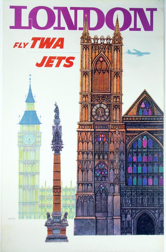 Vintage TWA travel poster from the 1960's. Designed by the famous poster artist David Klein.