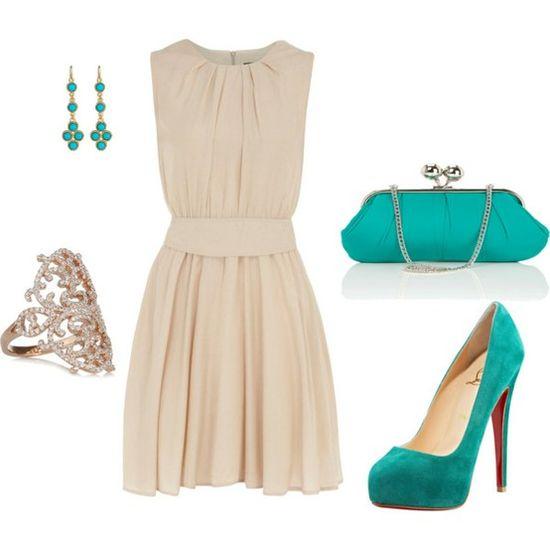 cream and turquoise