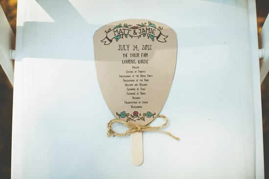 individualized fans for a summer wedding