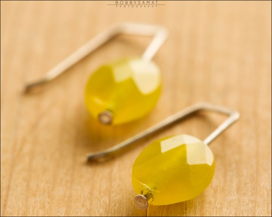 Sterling Silver Faceted Yellow Glass Bead Earrings - Jewelry by Jason Stroud.