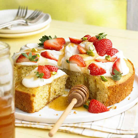 Pistachio-Honey Cake with Berries & Cream